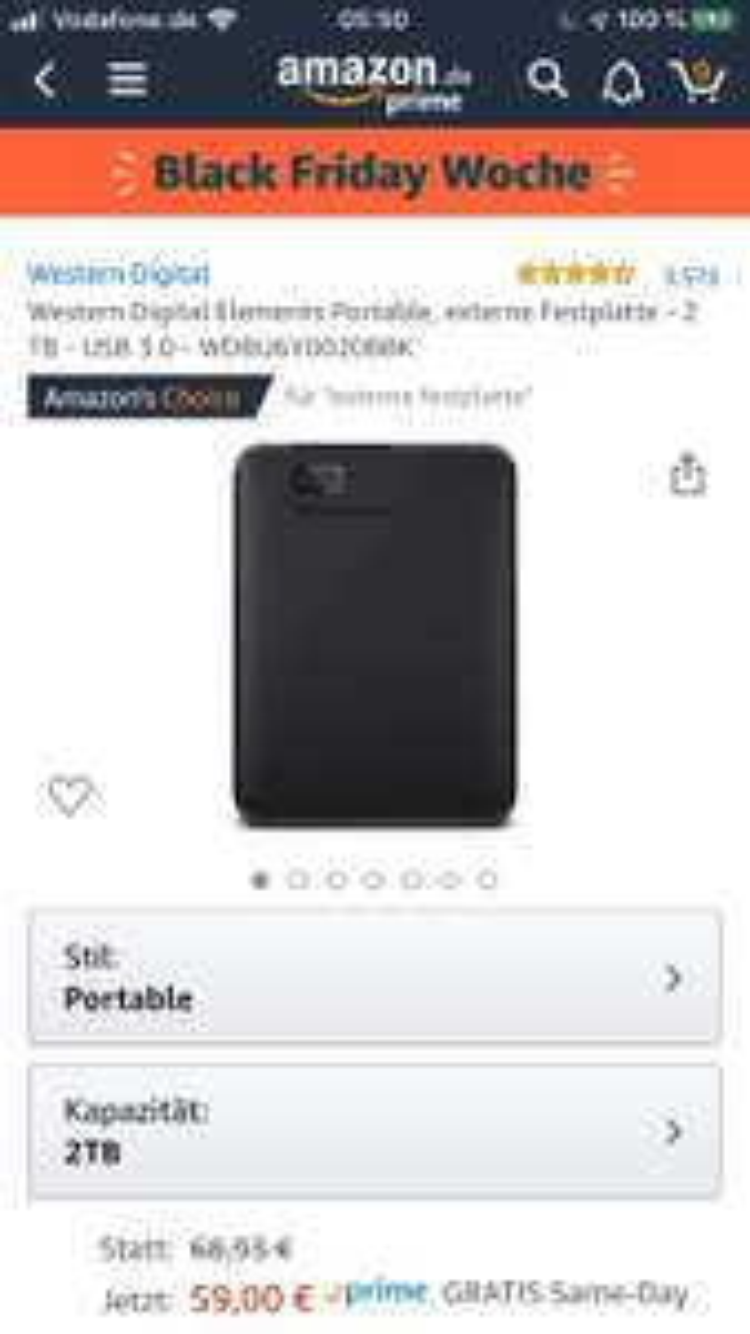 Western Digital Elements Portable, externe Festplatte - 2 TB - USB 3.0 - WDBU6Y0020BBK