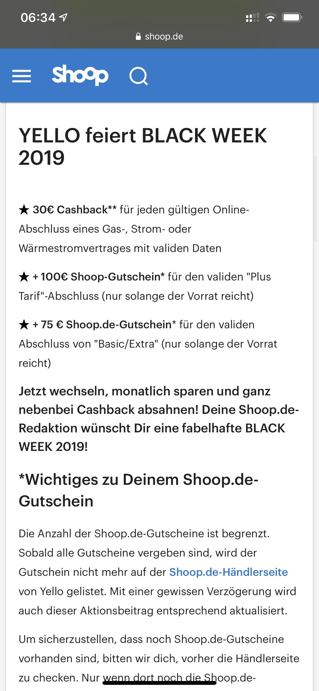 Yello Neukundengutschein 50€ / 100€ & cashback 30€