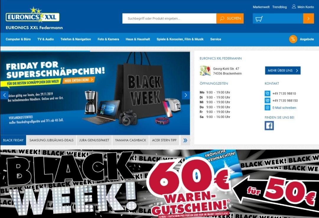 Black Friday Gutschein 60 Euro für 50 Euro [Euronics Federmann Brackenheim lokal]