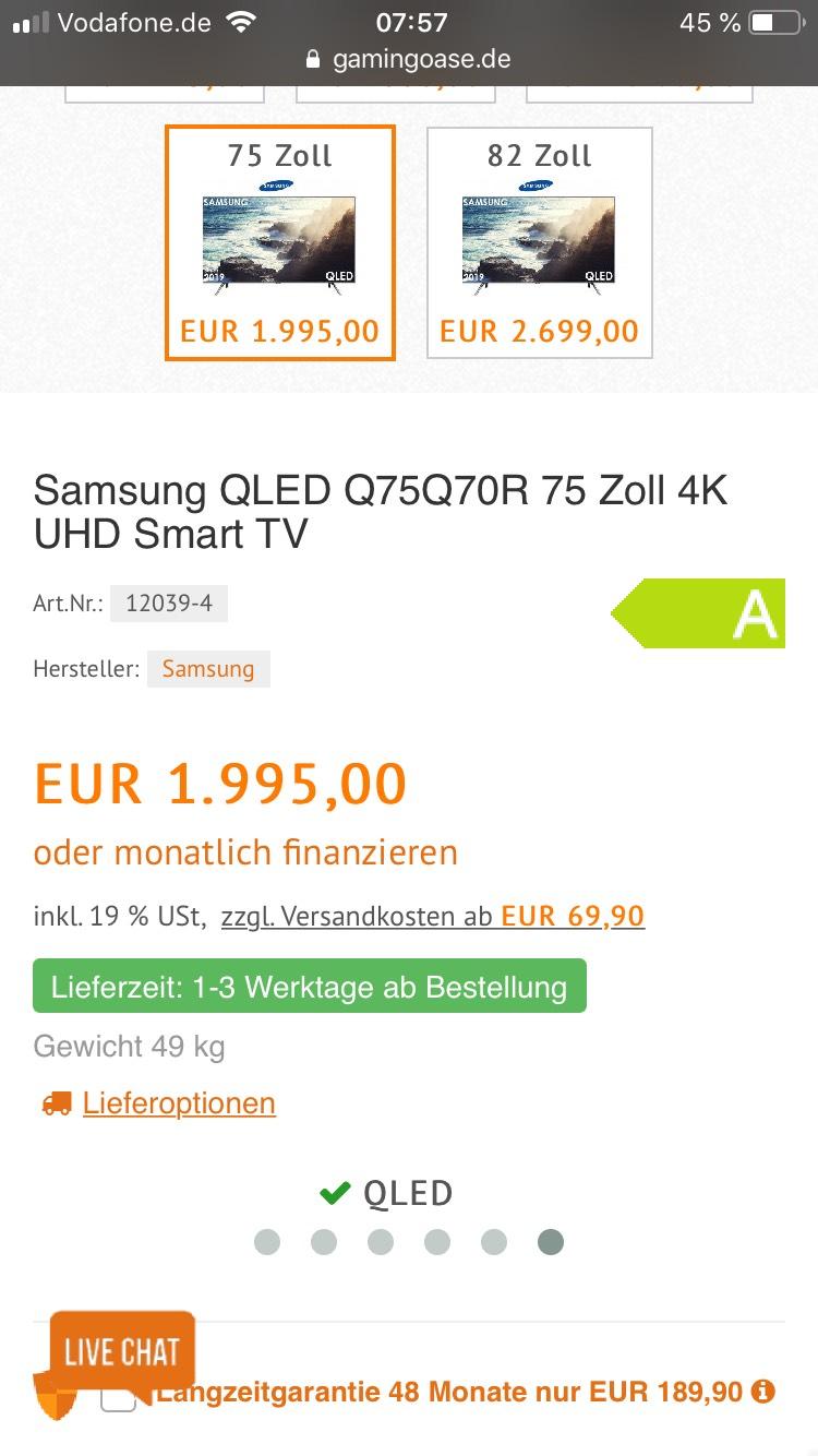 Samsung QLED Q75Q70R 75 Zoll 4K UHD Smart TV
