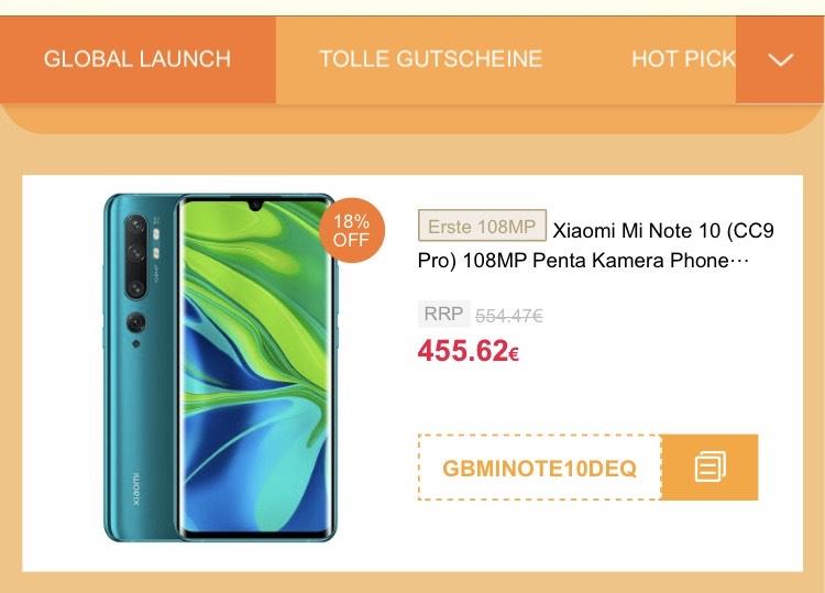 Xiaomi Mi Note 10 - 18% - 455,62€