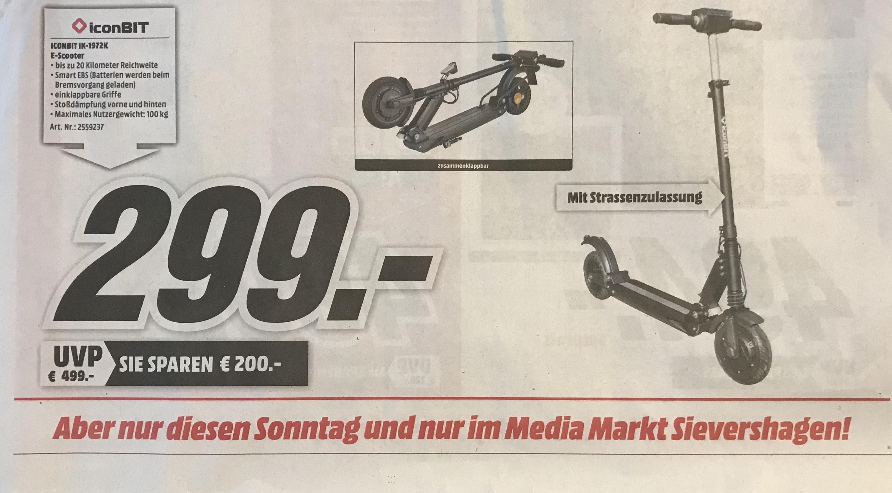 Iconbit Streetscooter IK–1972K mit Straßenzulassung Lokal am Sonntag im Media-Markt Rostock Sievershagen
