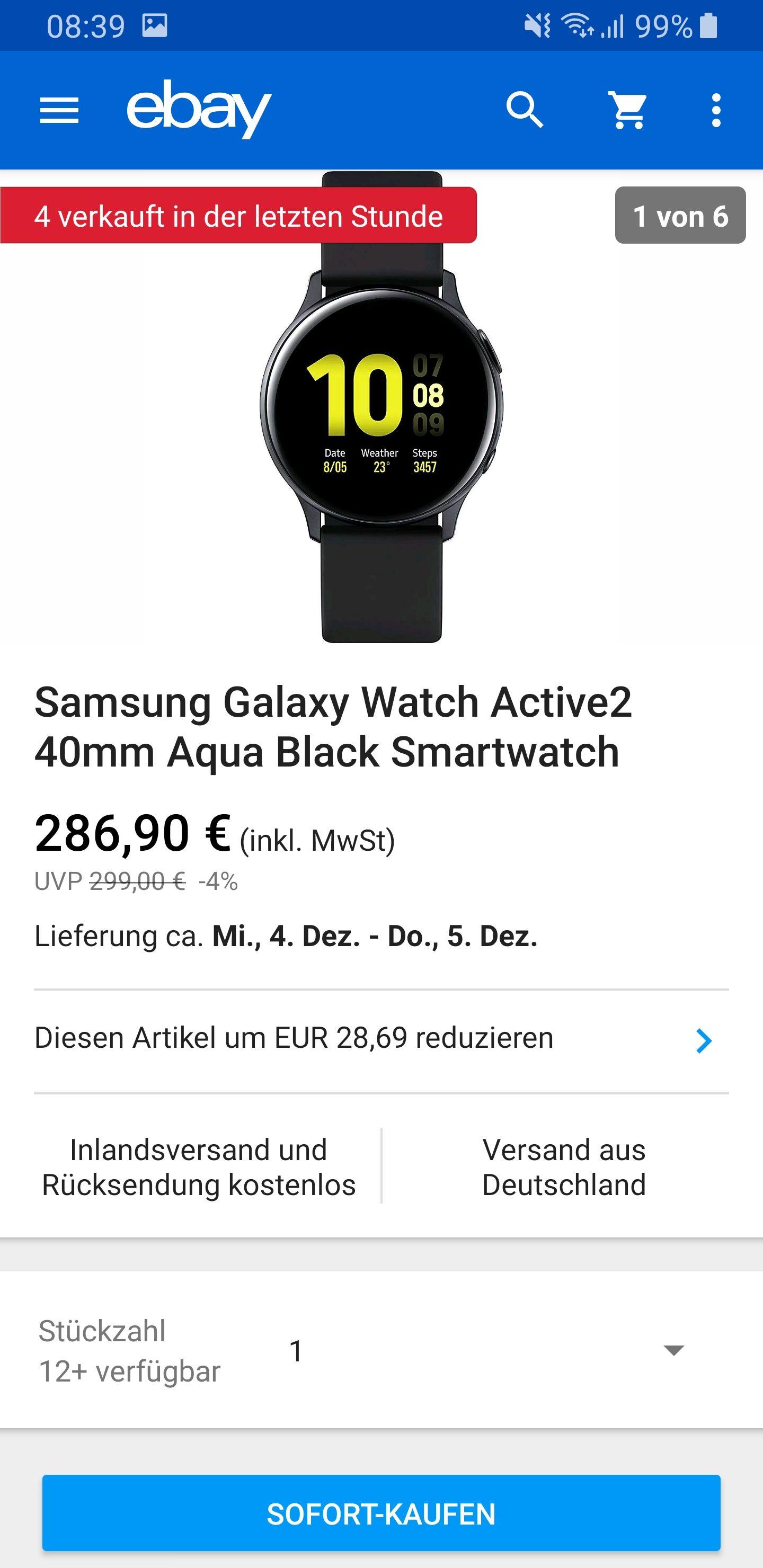 Samsung Galaxy Watch Active 2, 40mm, aqua Black Smartwatch