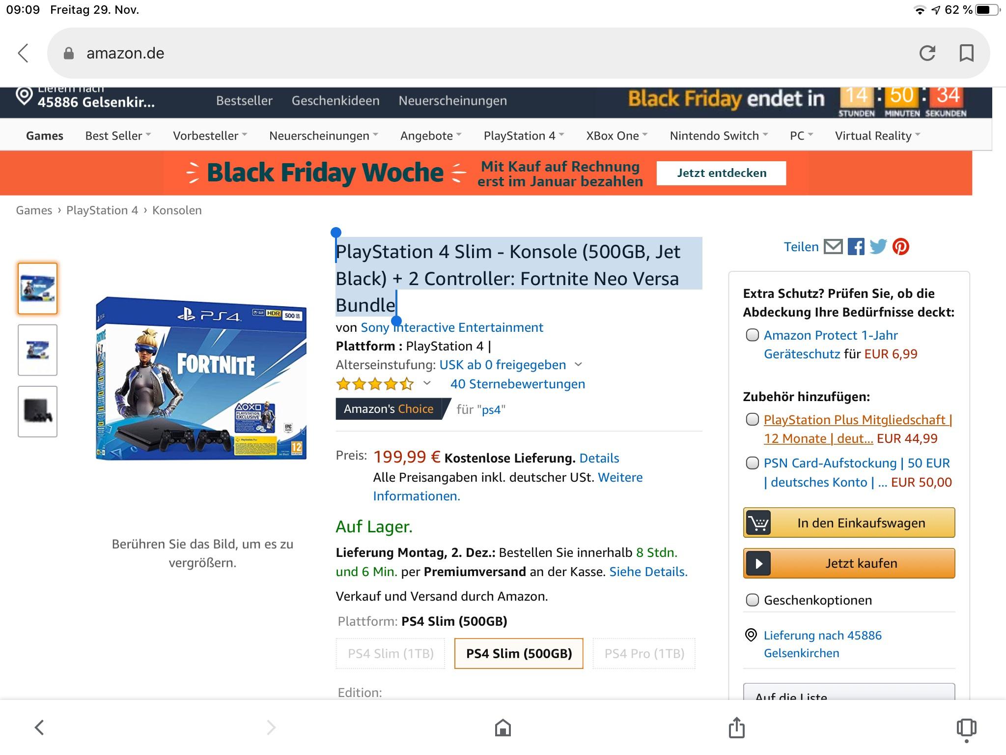 Fortnite Bundle mit 2 Controllern PlayStation 4 Slim - Konsole (500GB, Jet Black) + 2 Controller: Fortnite Neo Versa Bundle