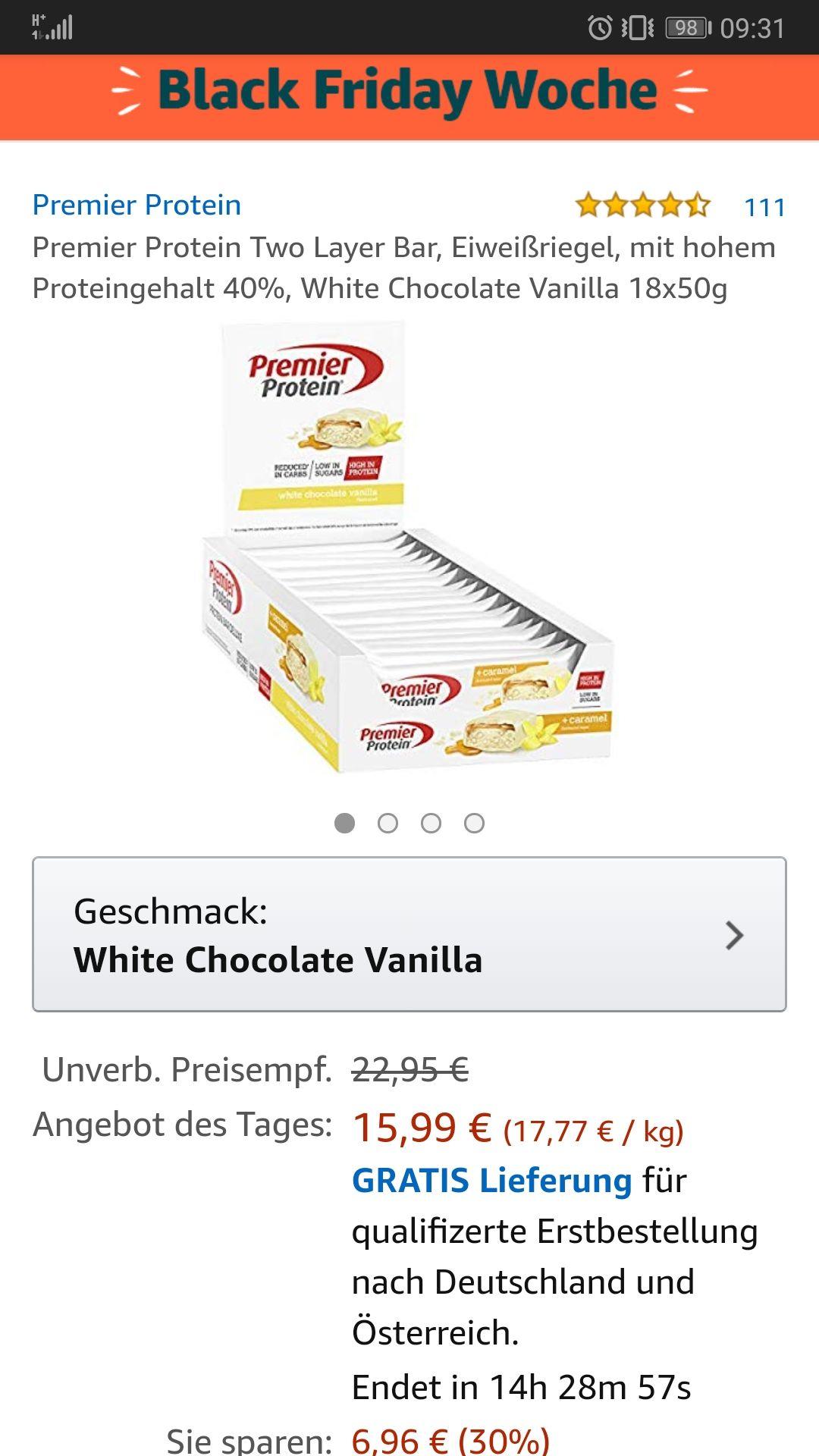 Premier Protein Two Layer Bar, Eiweißriegel, mit hohem Proteingehalt 40%, White Chocolate Vanilla 18x50g