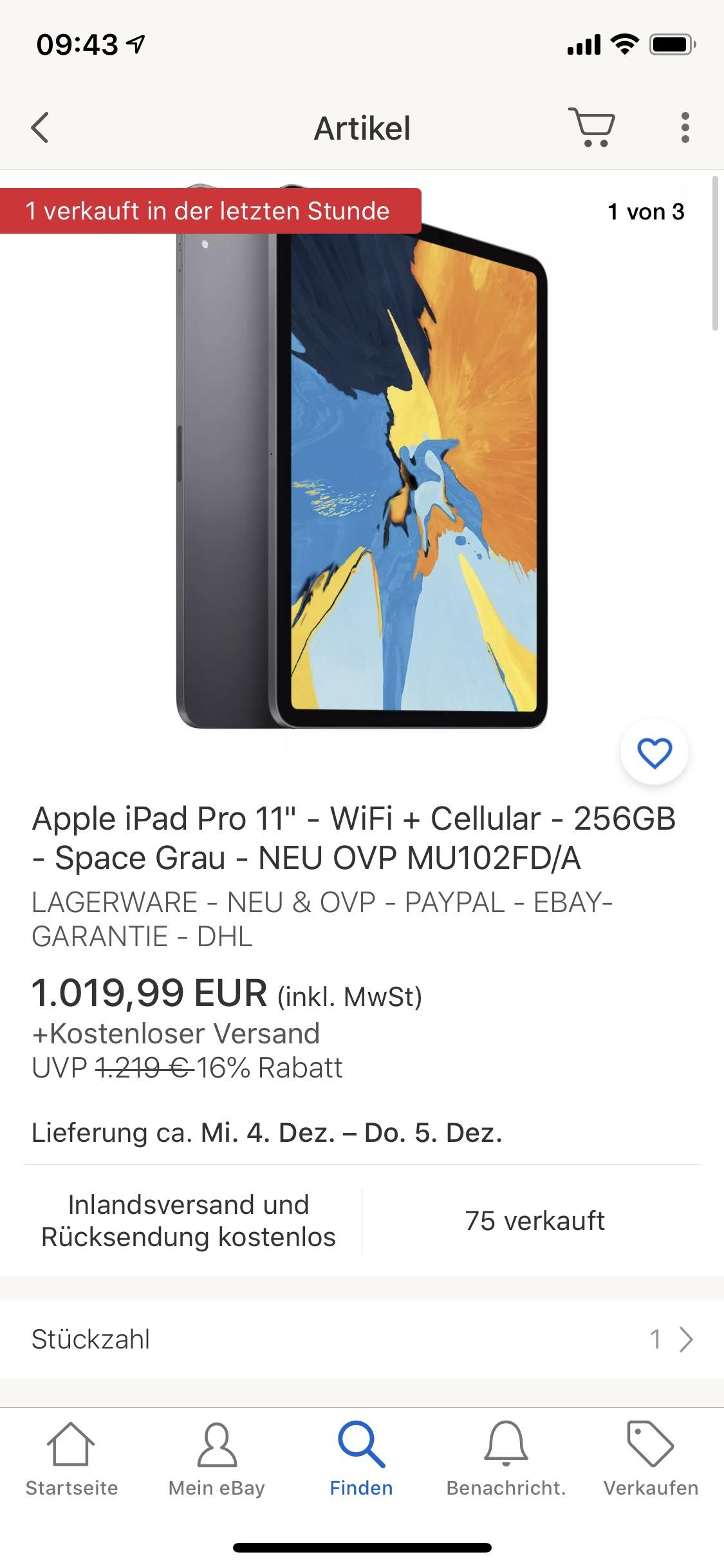 "iPad Pro 11"" 256GB Wifi+Cellular"