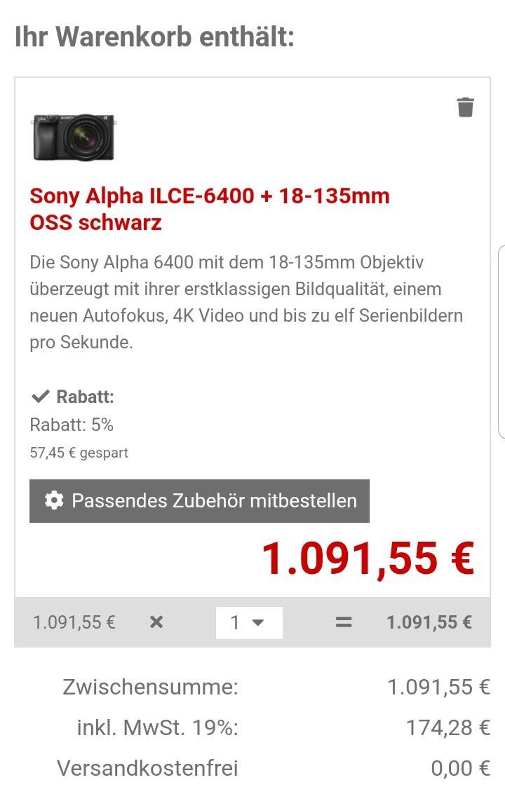 [Foto Erhardt] Sony Alpha ILCE-6400 + 18-135mm OSS schwarz