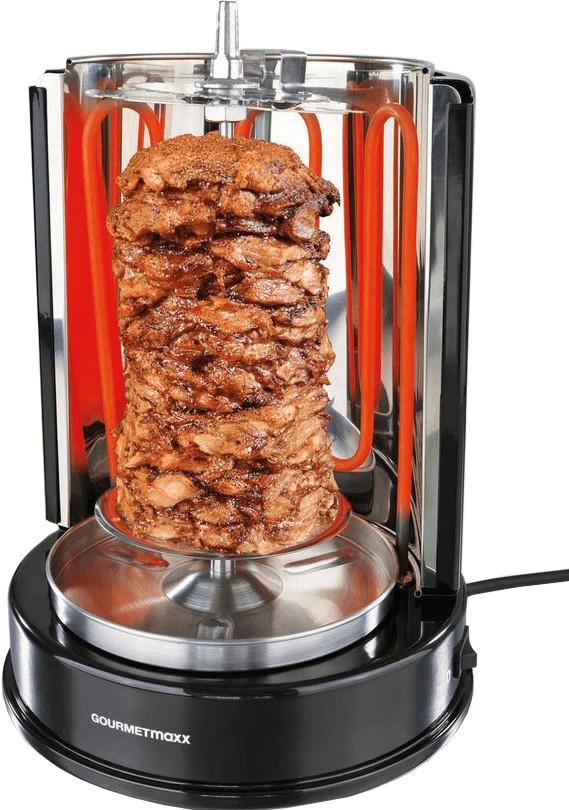 GourmetMaxx Dönergrill (1400 Watt, für Spieße bis 4kg, auch für Hähnchen oder Schaschlik geeignet, abnehmbare Edelstahlelemente)