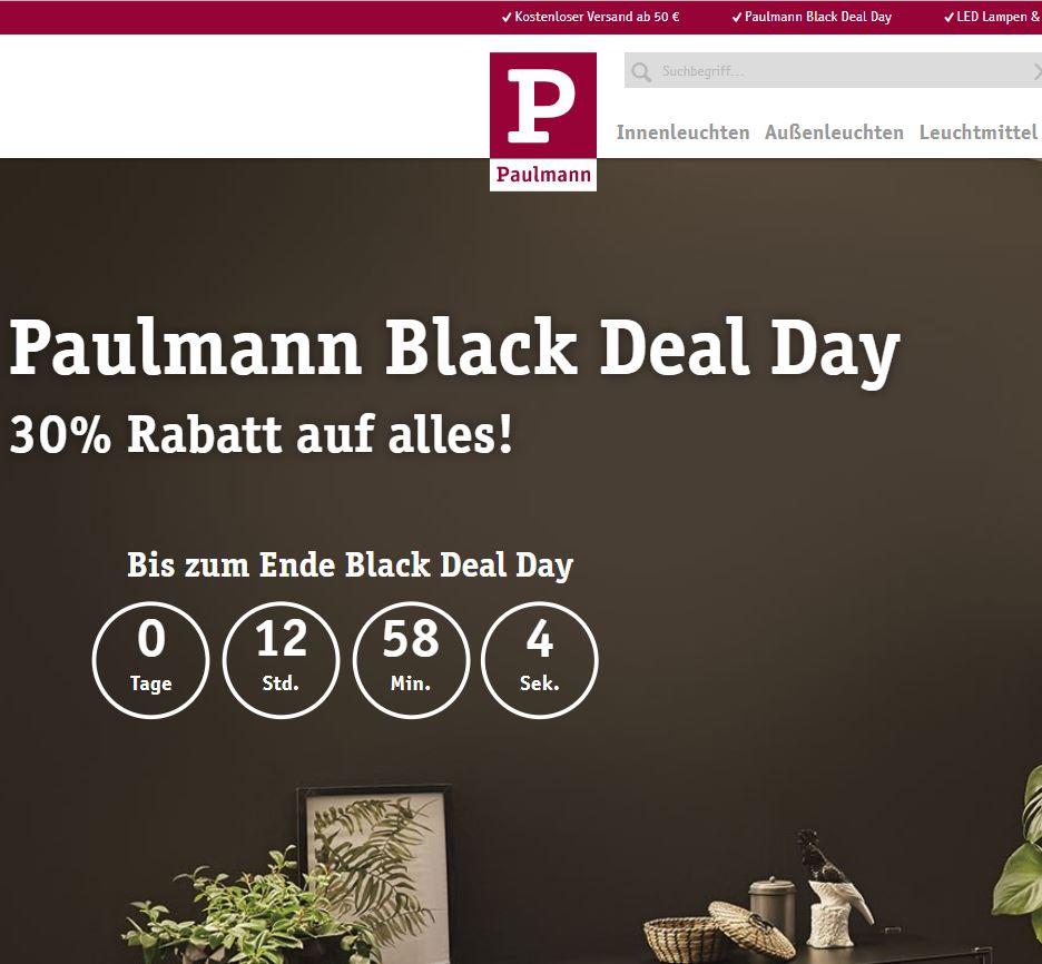 BLACK FRIDAY 30 % auf alle Lampen im Onlineshop von Paulmann