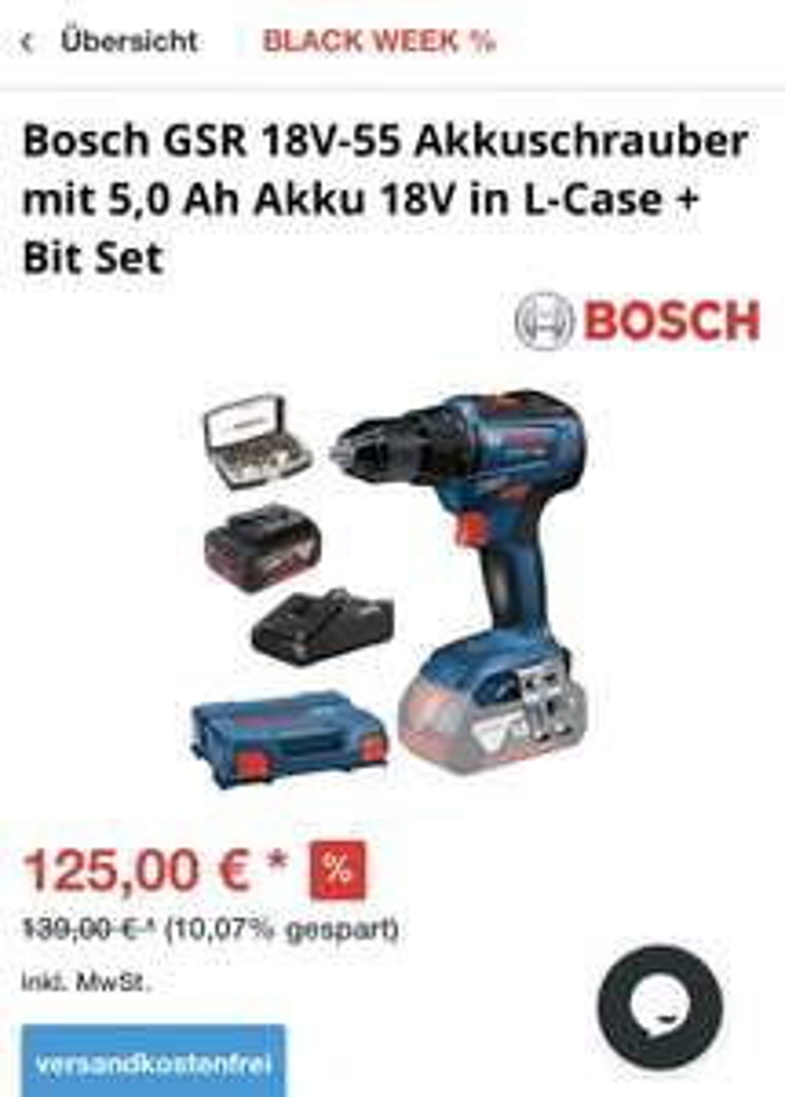 Bosch GSR 18V-55 Akkuschrauber mit 5,0 Ah Akku 18V in L-Case + Bit Set
