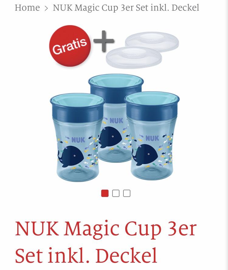 3 Nuk Magic Cup Trinkbecher + 2 Deckel gratis