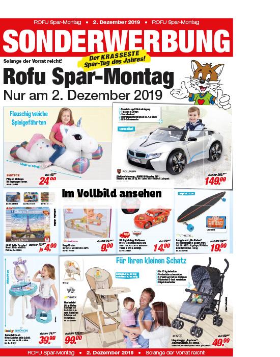 Rofu Spar Montag - Diverse Artikel stark reduziert / nur gültig am 02.12. z.b. Plüscheinhorn mit 130cm für 24,99 anstatt 49,99