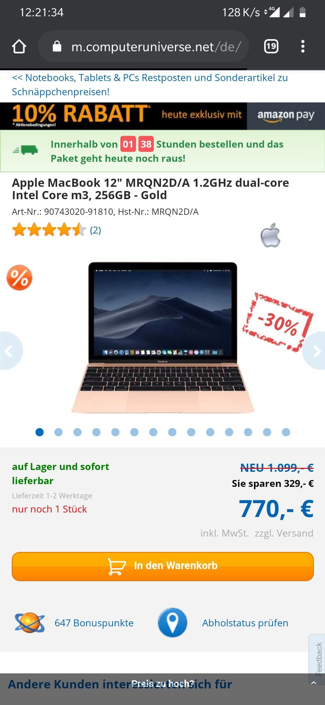 "B Ware - Apple MacBook 12"" MRQN2D/A 1.2GHz dual-core Intel Core m3, 256GB - Gold"