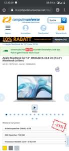 "Apple MacBook Air 13"" MREA2D/A 33.8 cm (13.3"") Notebook (silber)"