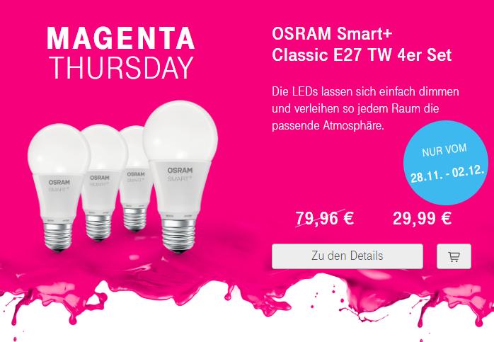 Osram Smart + classic E27 tunable white LED Leuchtmittel (Helligkeit und Farbe einstellbar)