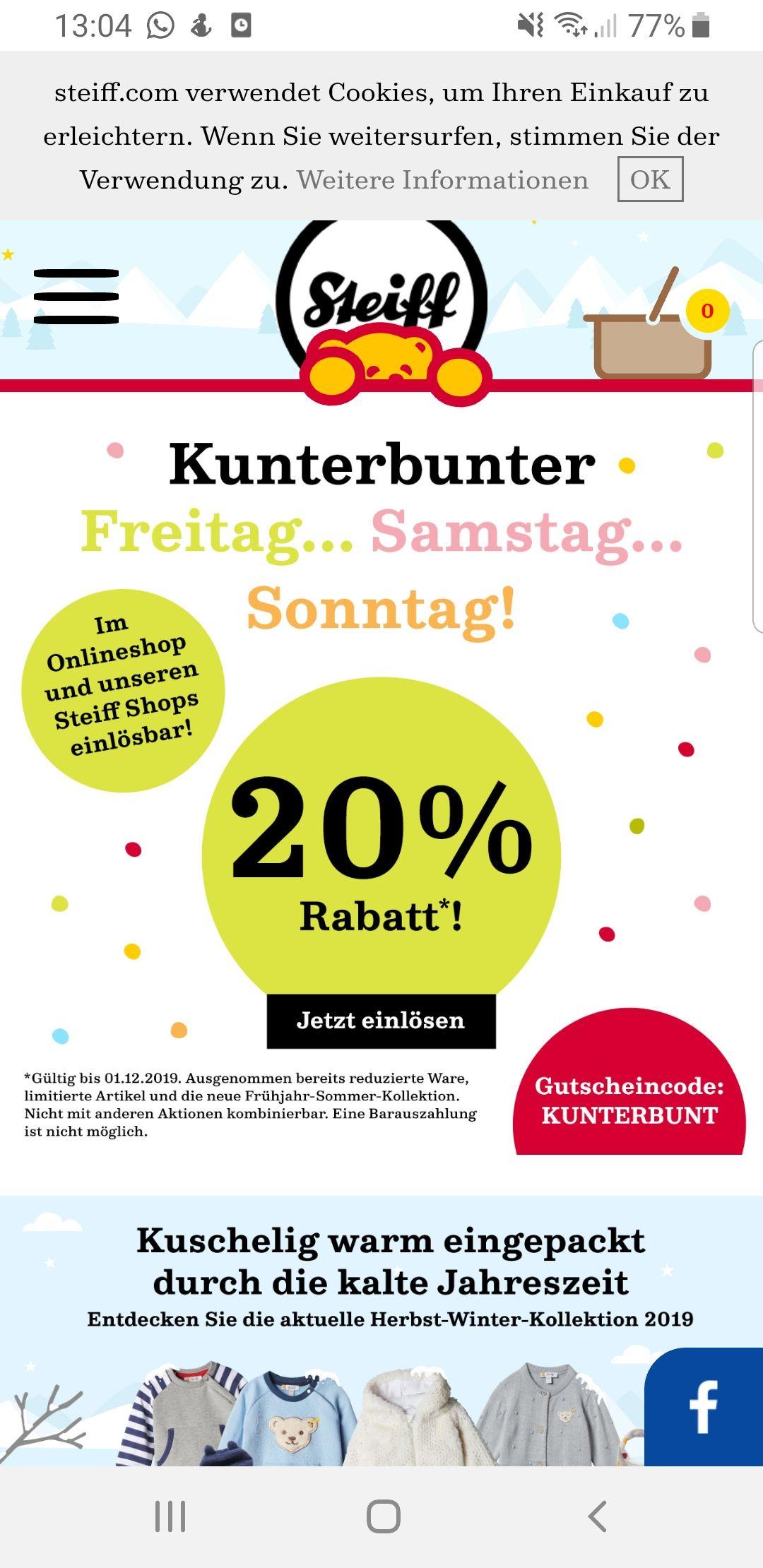 "20% Aktion auf ""Alles"" bei Steiff aus dem regulären Sortiment"