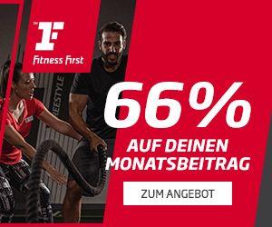 Black Friday bei Fitness First: 66% Rabatt auf die ersten 3 Monatsbeiträge und vergünstigte Anmeldegebühr (Beispiel mit 12 Monaten)