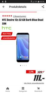 Blackfriday: HTC Desire 12s 32 GB Dark Blue Dual SIM