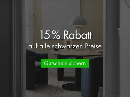 15 % Rabatt auf alle nicht reduzierten Waren - super Preise für USM-Haller, Vitra, Fritz Hansen etc.