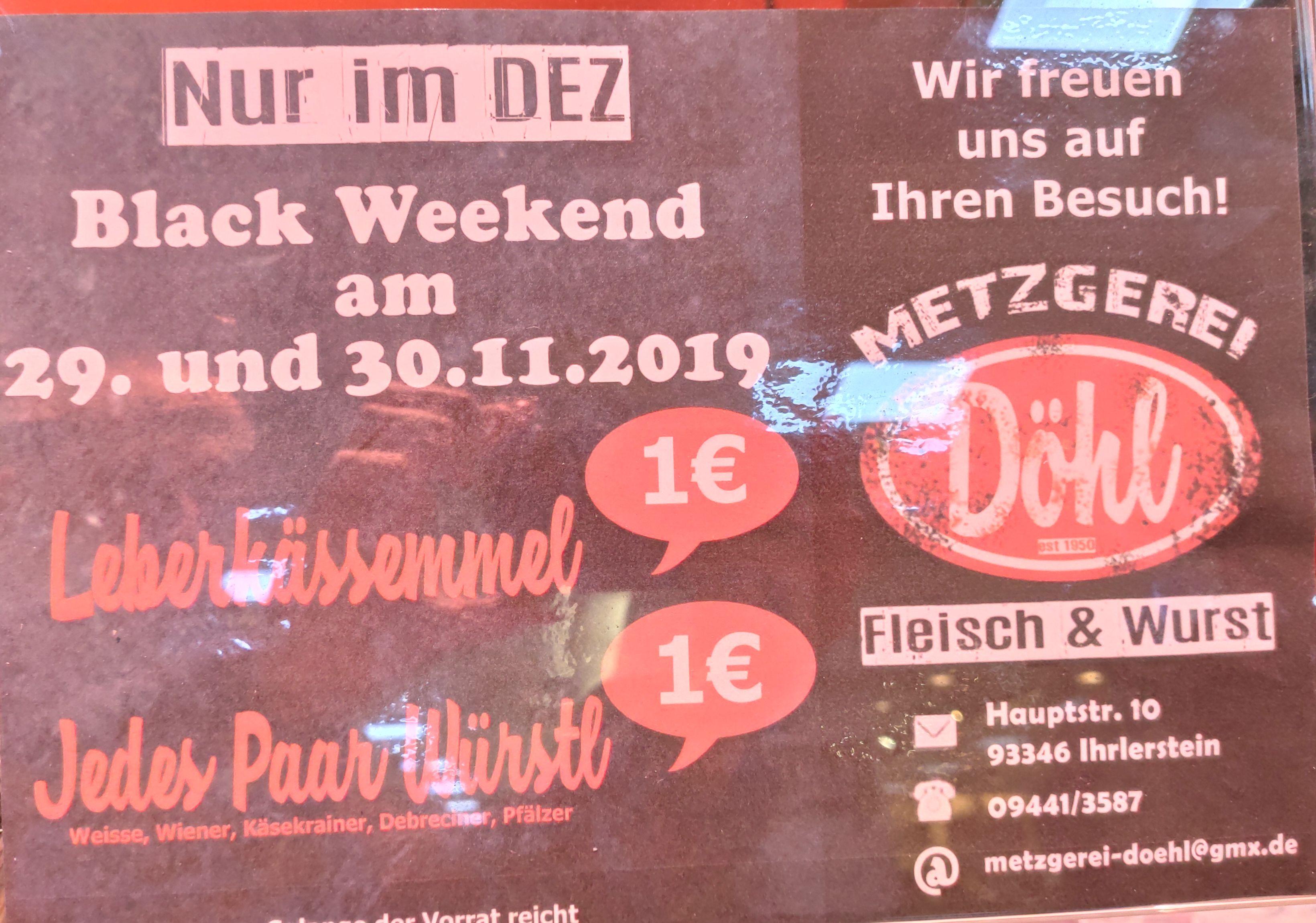 Lokal Regensburg DEZ Leberkässemmel und ein Paar Würste für 1€