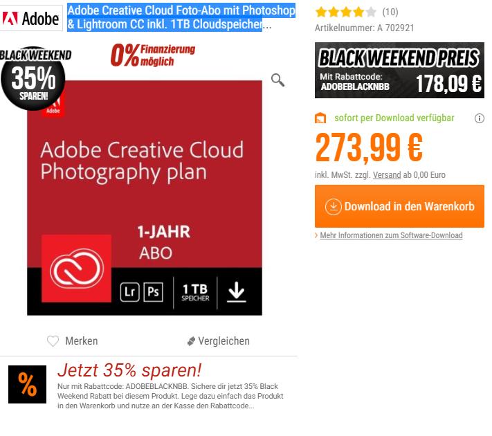 35% Rabatt auf Adobe Creative Cloud Foto-Abo 1TB mit Photoshop & Lightroom CC