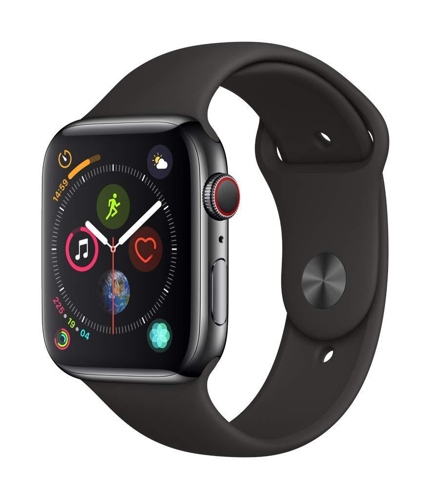 [Amazon.co.uk] Apple Watch Series 4 GPS + Cellular, 40mm Edelstahlgehäuse, Space Black, mit Schwarzem Sportarmband