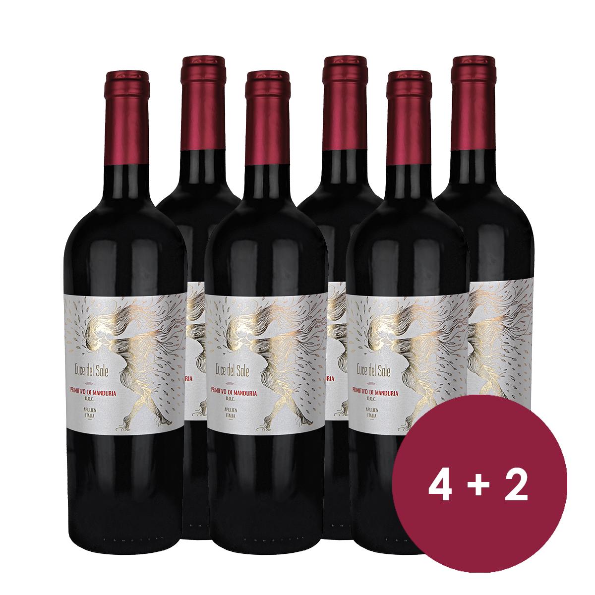 Black Week Sale: Weine & Prosecco bis zu 36% reduziert, z.B. 6 Flaschen Primitivo di Manduria DOC Luce del Sole Apulien