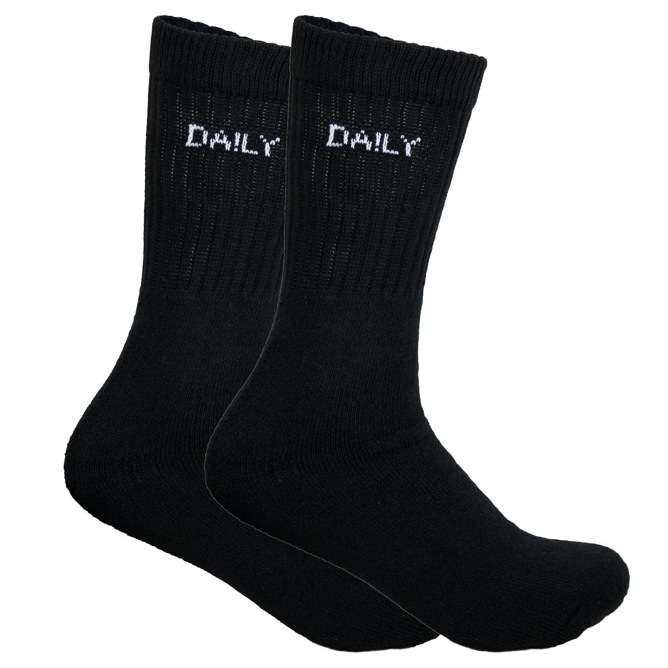 Socken wechseln leicht gemacht: 14 schwarze Sportsocken mit aufgedruckten Wochentag