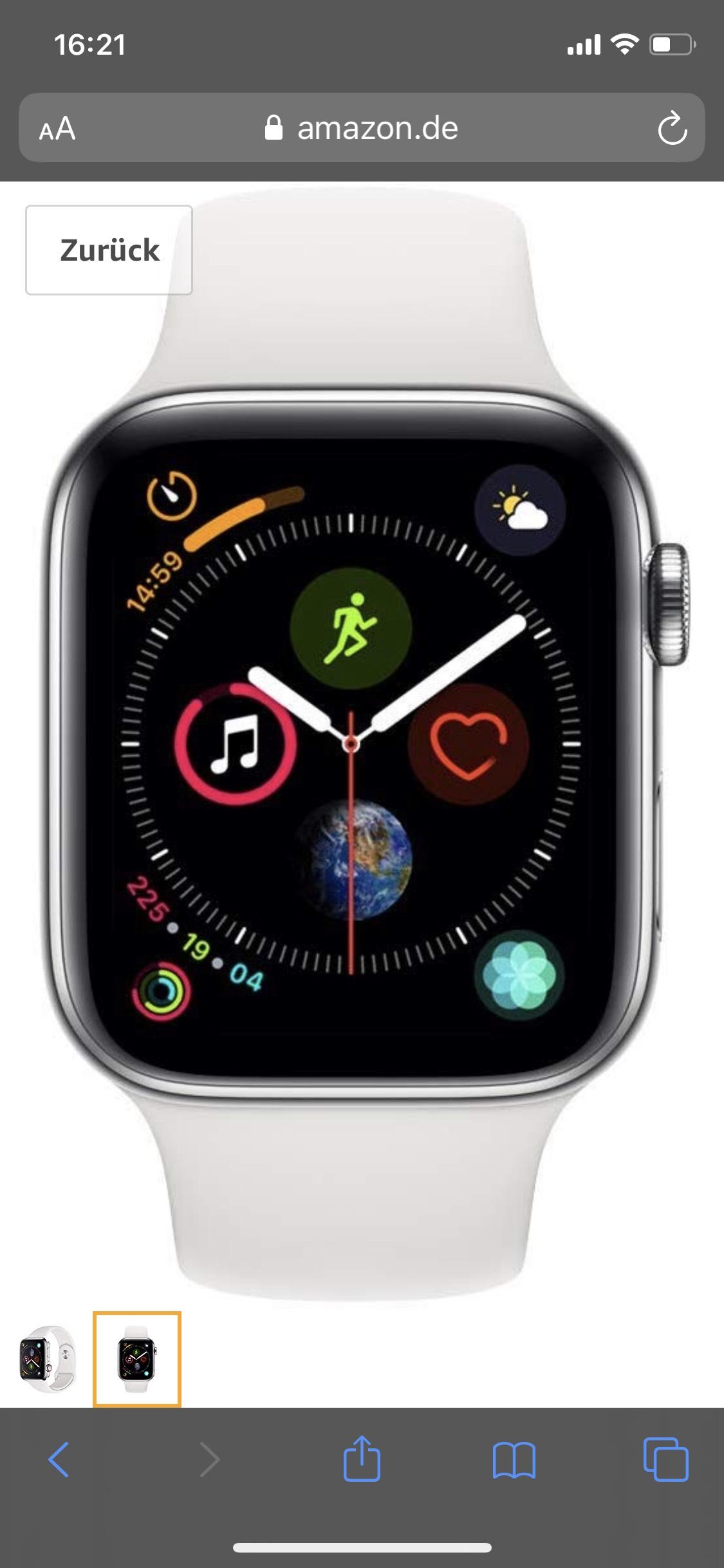 Apple Watch Serie 5 44mm Edelstahl Weiß