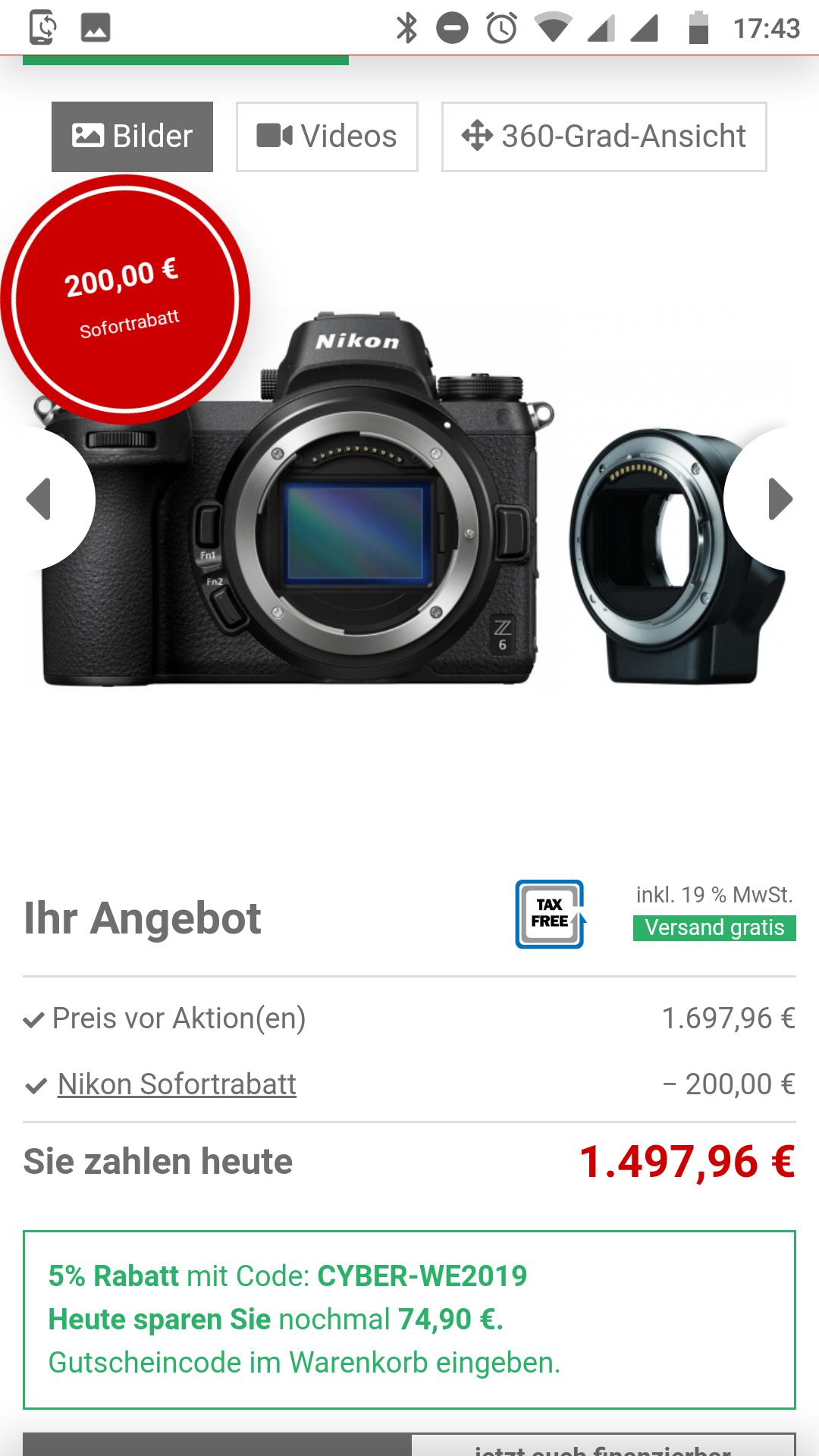 Nikon Z6 mit Objektivadapter für 1423,06 EUR