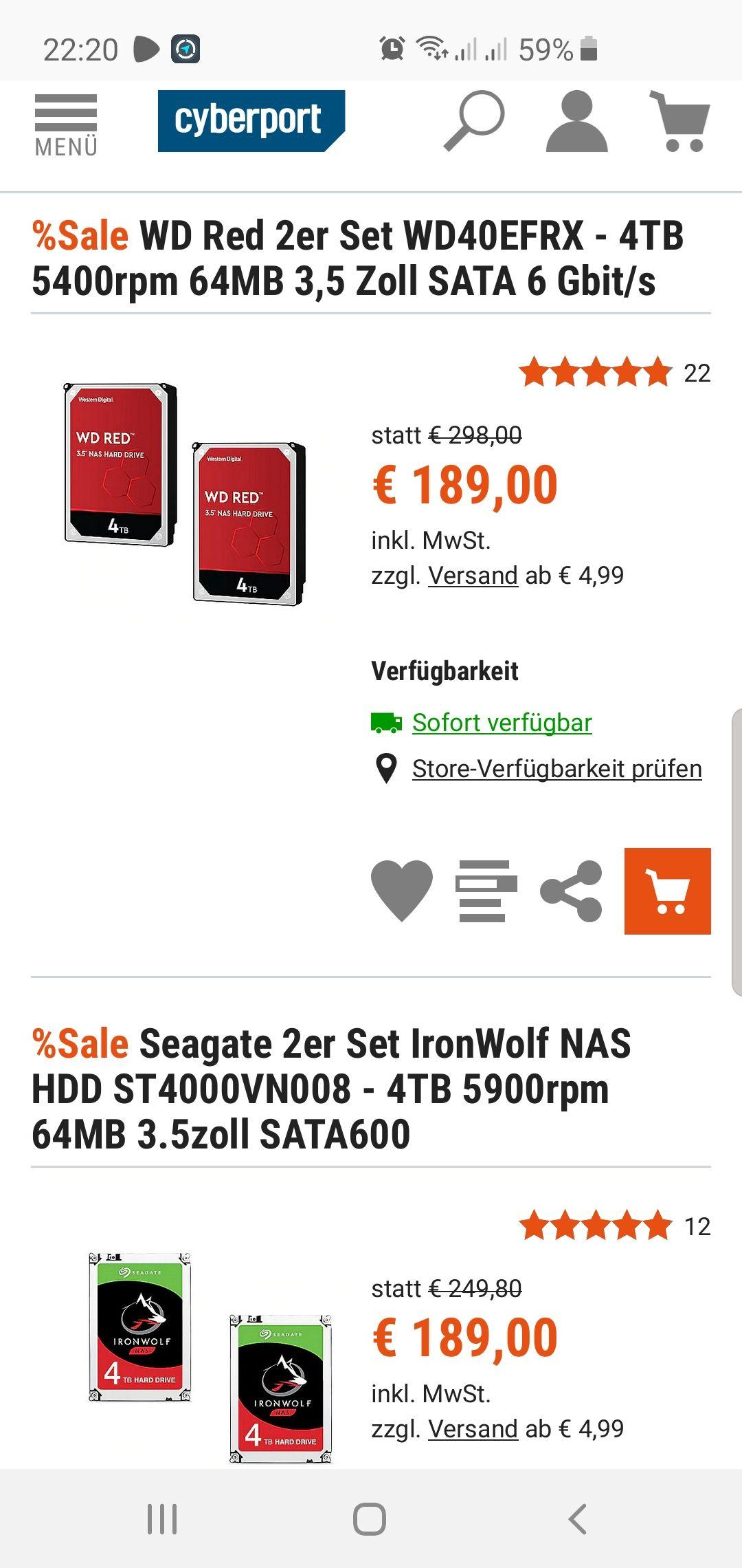 2er Pack WD RED 4TB für je 99€