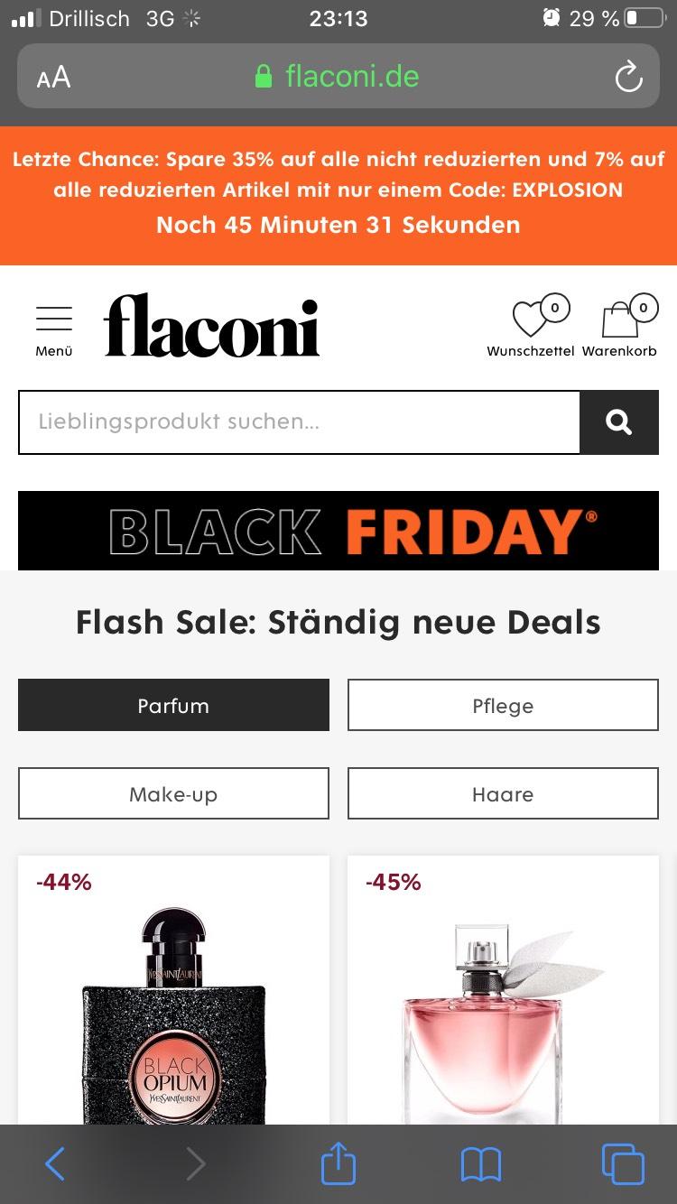 Flaconi 35% oder 7% Gutschein