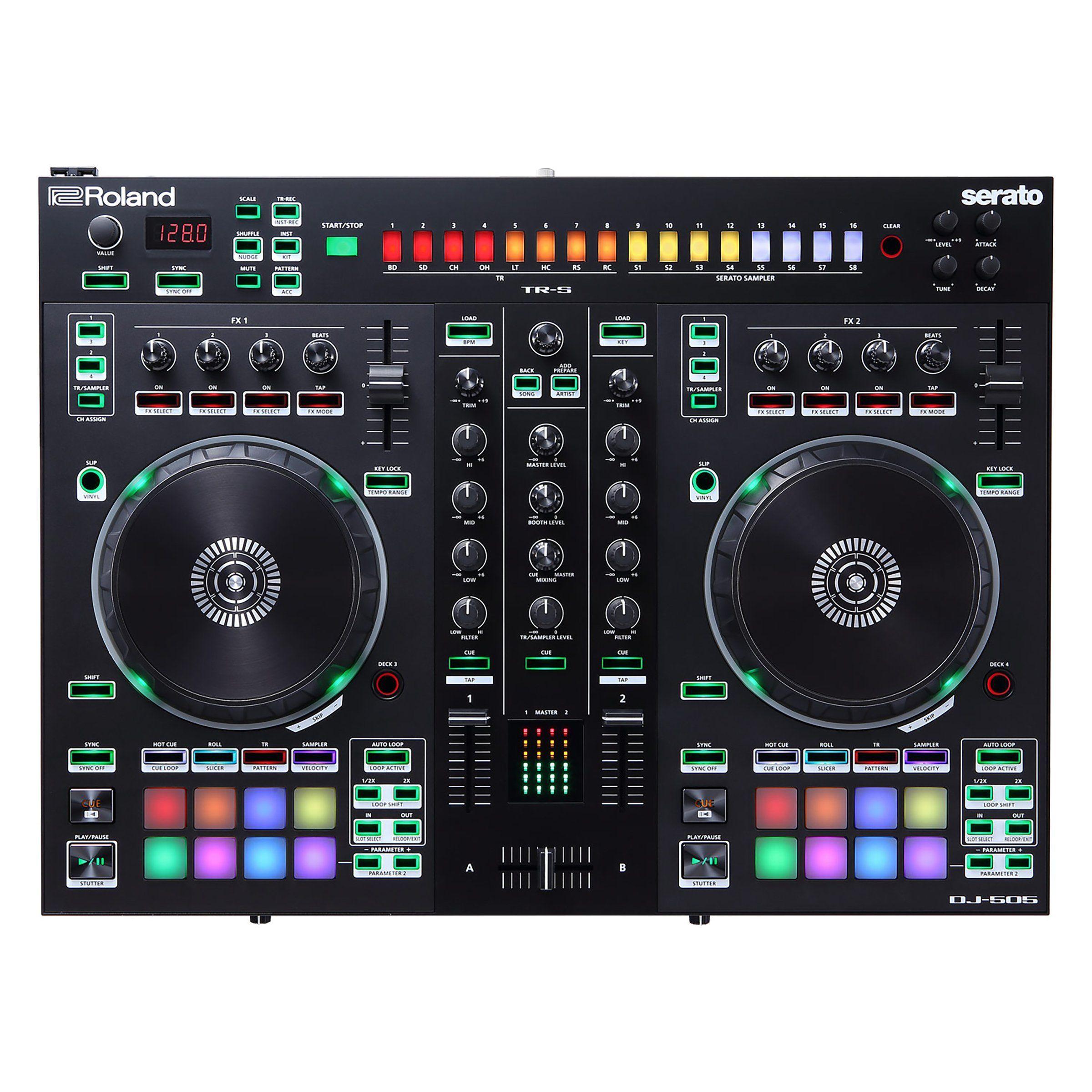 Roland DJ-505: DJ-Controller (2-Kanal, 4 Decks, 16 RGB Pads, 16-Step-Sequencer, Serato)