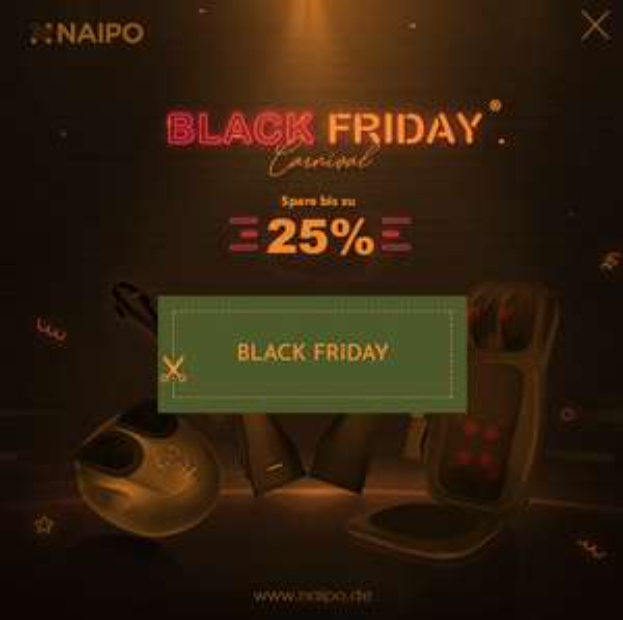 25% Rabatt auf alle Massagegeräte von Naipo zu Black Friday