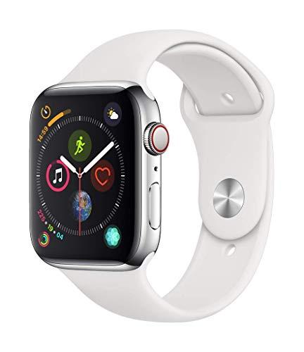 Apple Watch Series 4 (GPS + Cellular) 44 mm, Edelstahl mit Armband in weiß (Kein Versand nach DE)