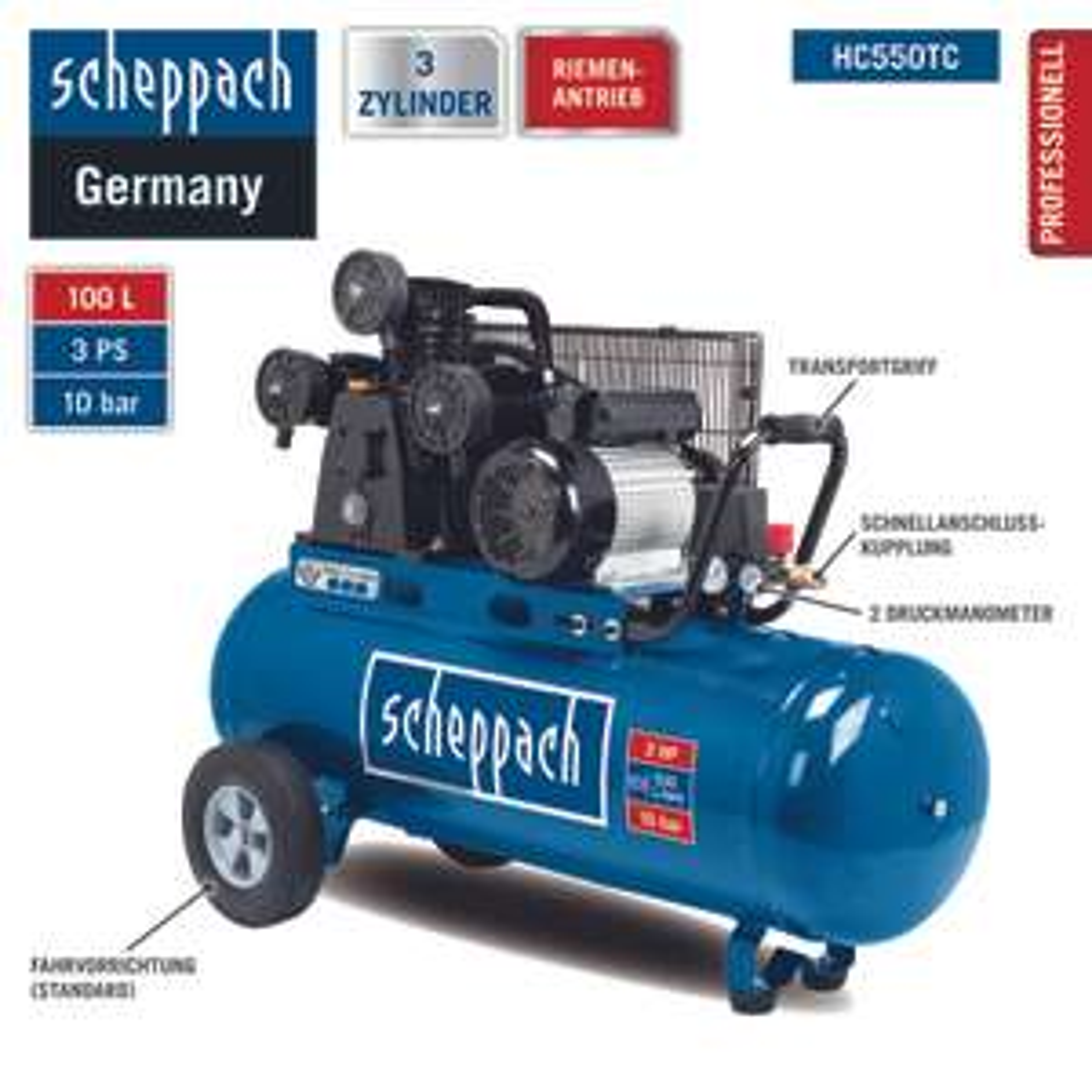 Scheppach Kompressor HC550TC 3-Zylinder Riemenantrieb 100L 3PS für 349,25€ [Norma24]