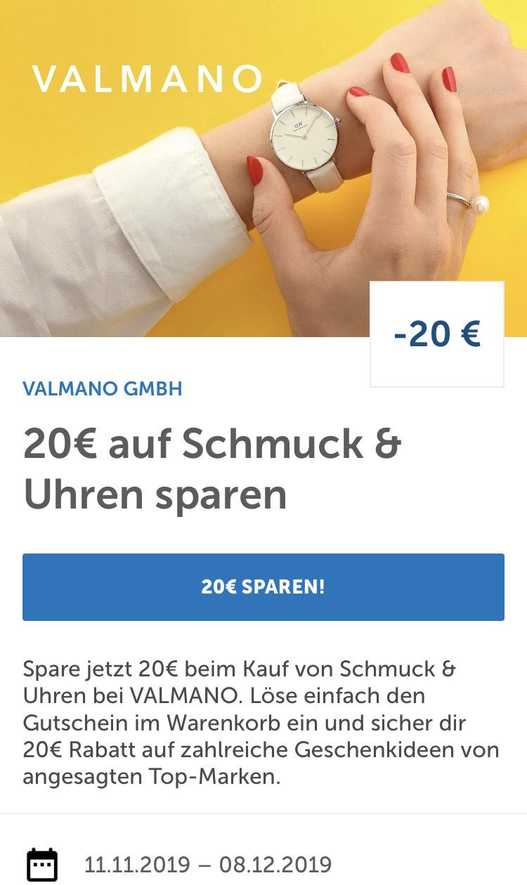 20€ für Schmuck und Uhren bei Valmano