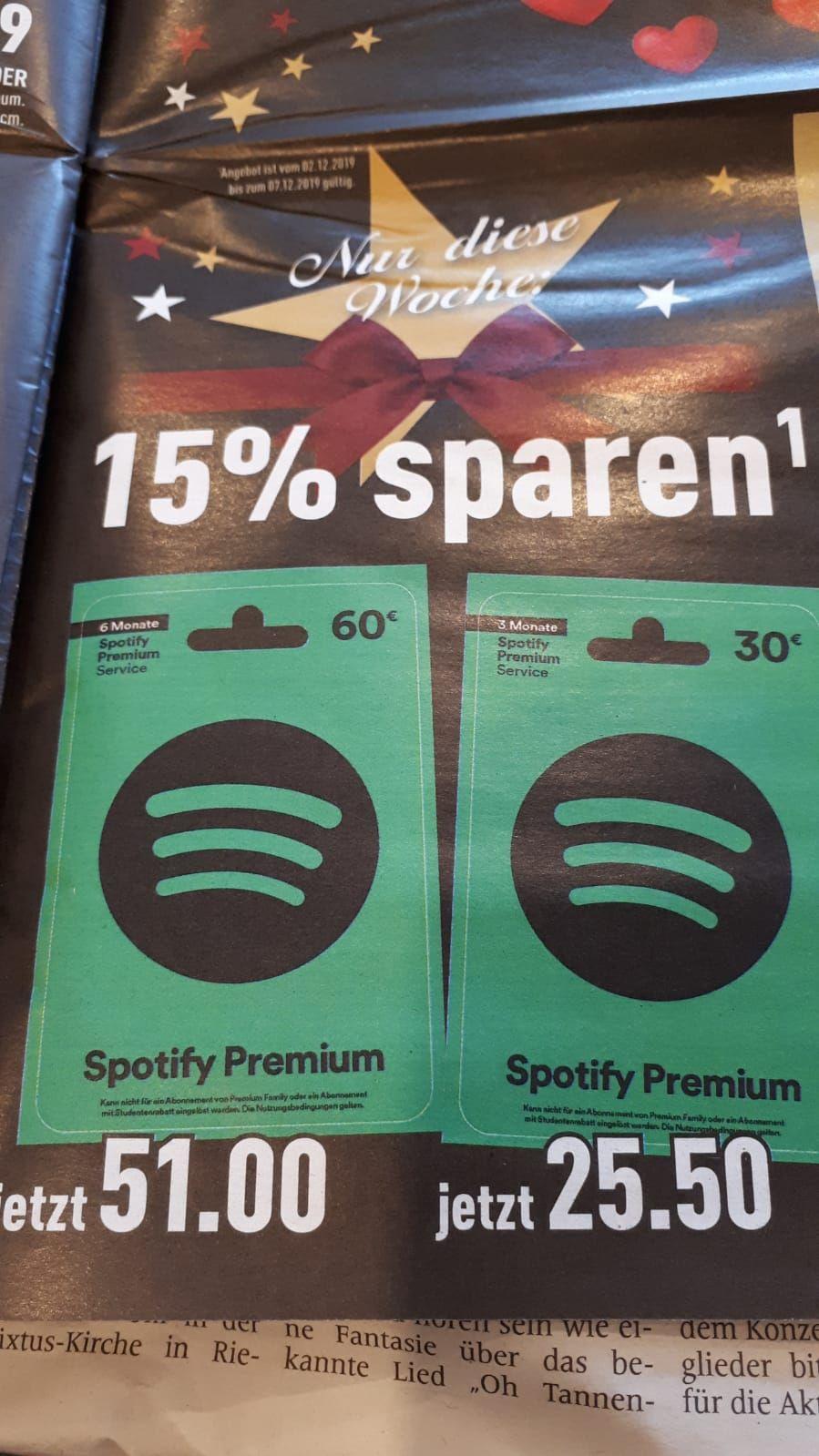 Spotify Premium Guthaben Karte für 6 und 3 Monate bei Marktkauf Ibbenbüren