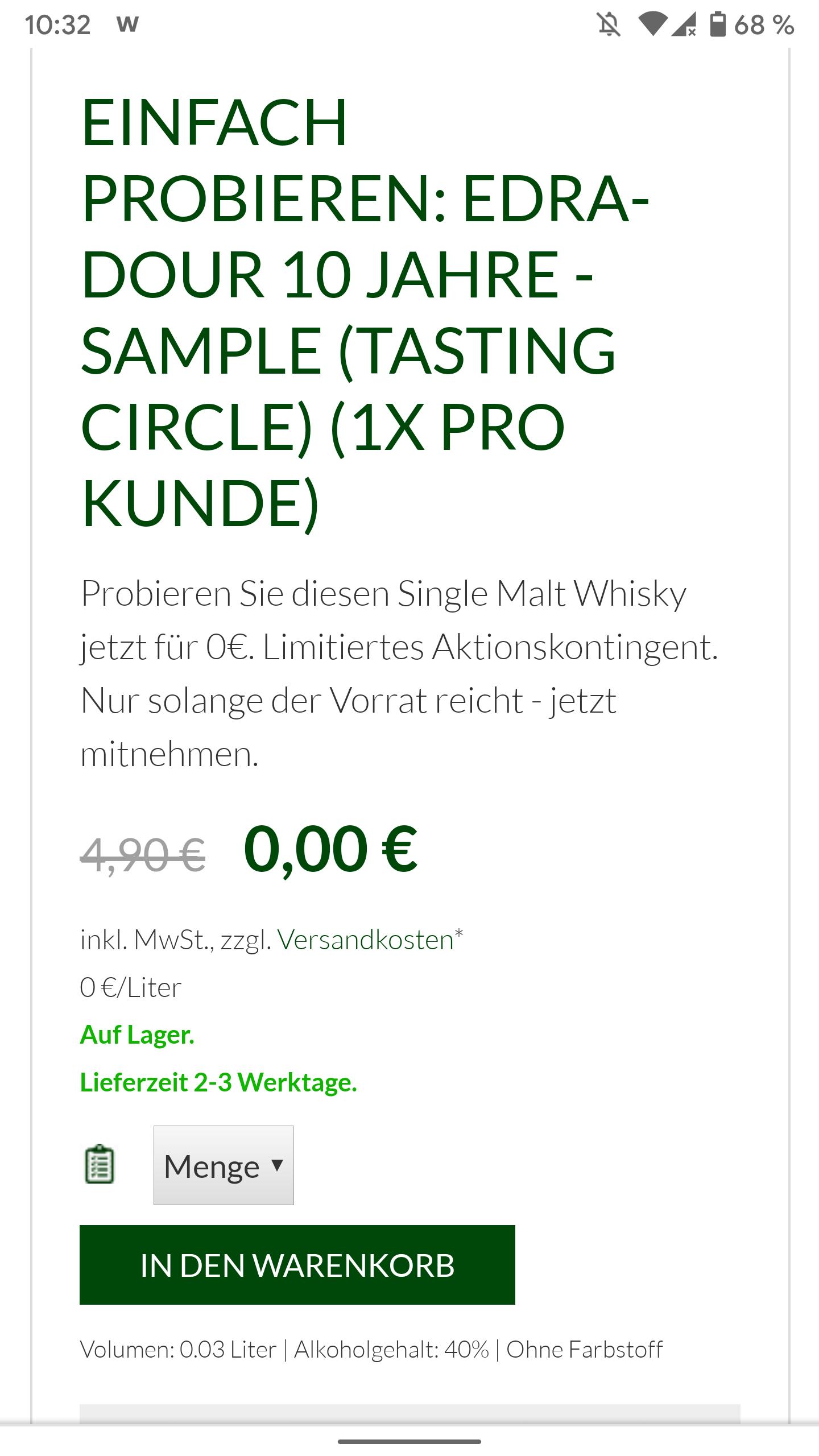 Whisky EDRADOUR 10 JAHRE - SAMPLE