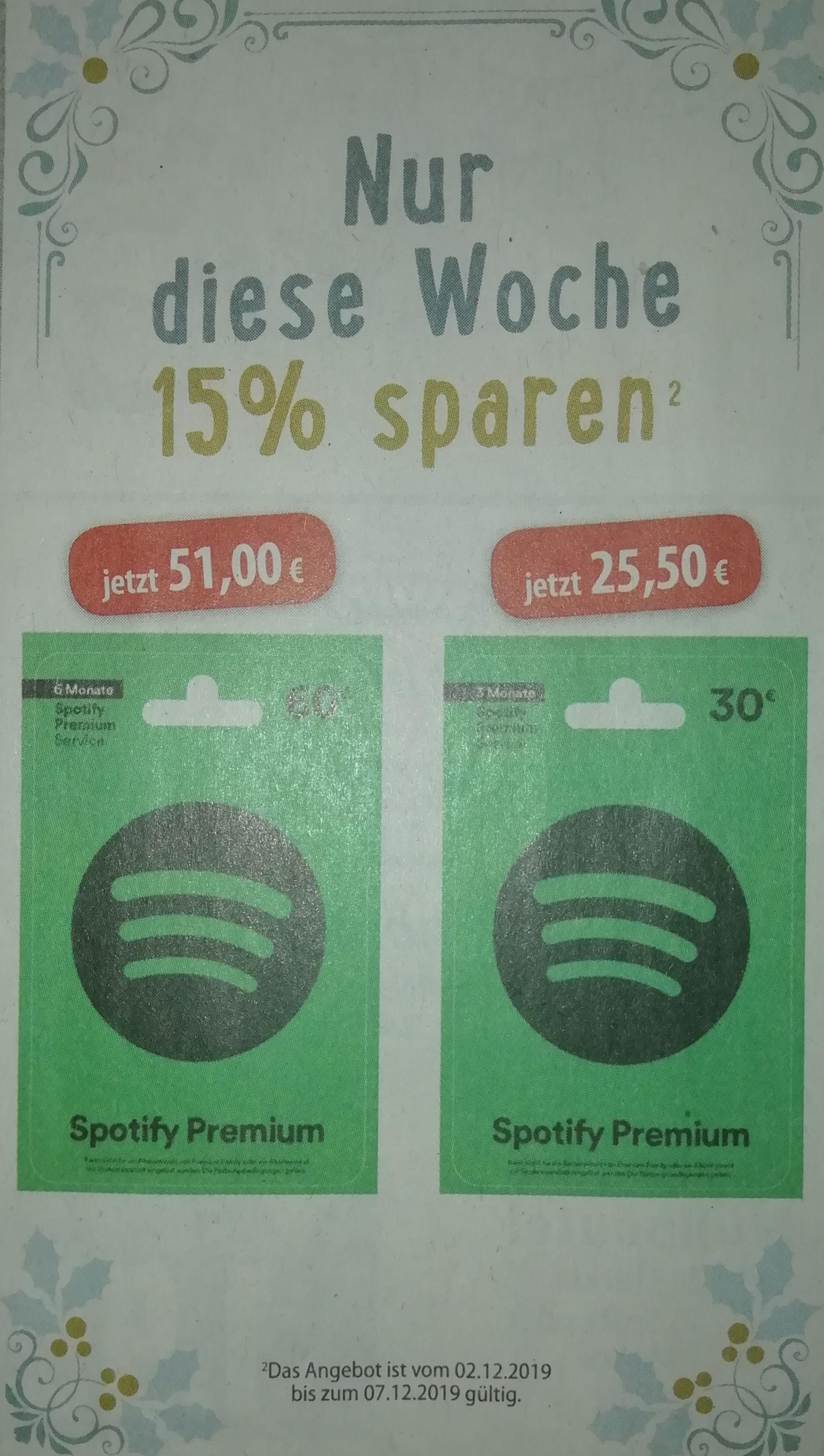 [Edeka Minden-Hannover ab 2.12] Spotify Premium 3 Monaten 25,50€ | 6 Monate 51€
