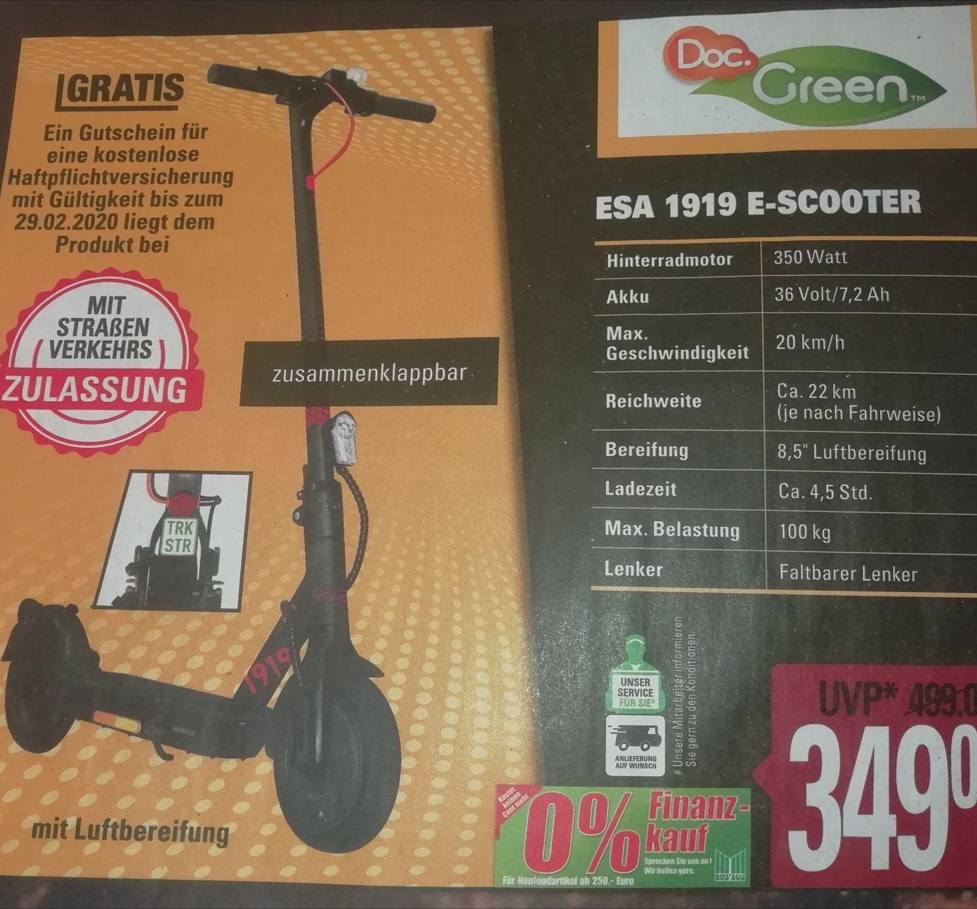 [Martkauf Minden-Hannover evtl. Bundesweit] Doc Green ESA 1919 E Scooter mit Straßenverkehrs Zulassung + Haftpflichtversicherung gratis