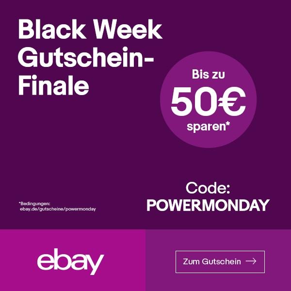 eBay-Gutschein für den Cybermonday: 10€ ab 150€, 20€ ab 250€, 50€ ab 550€