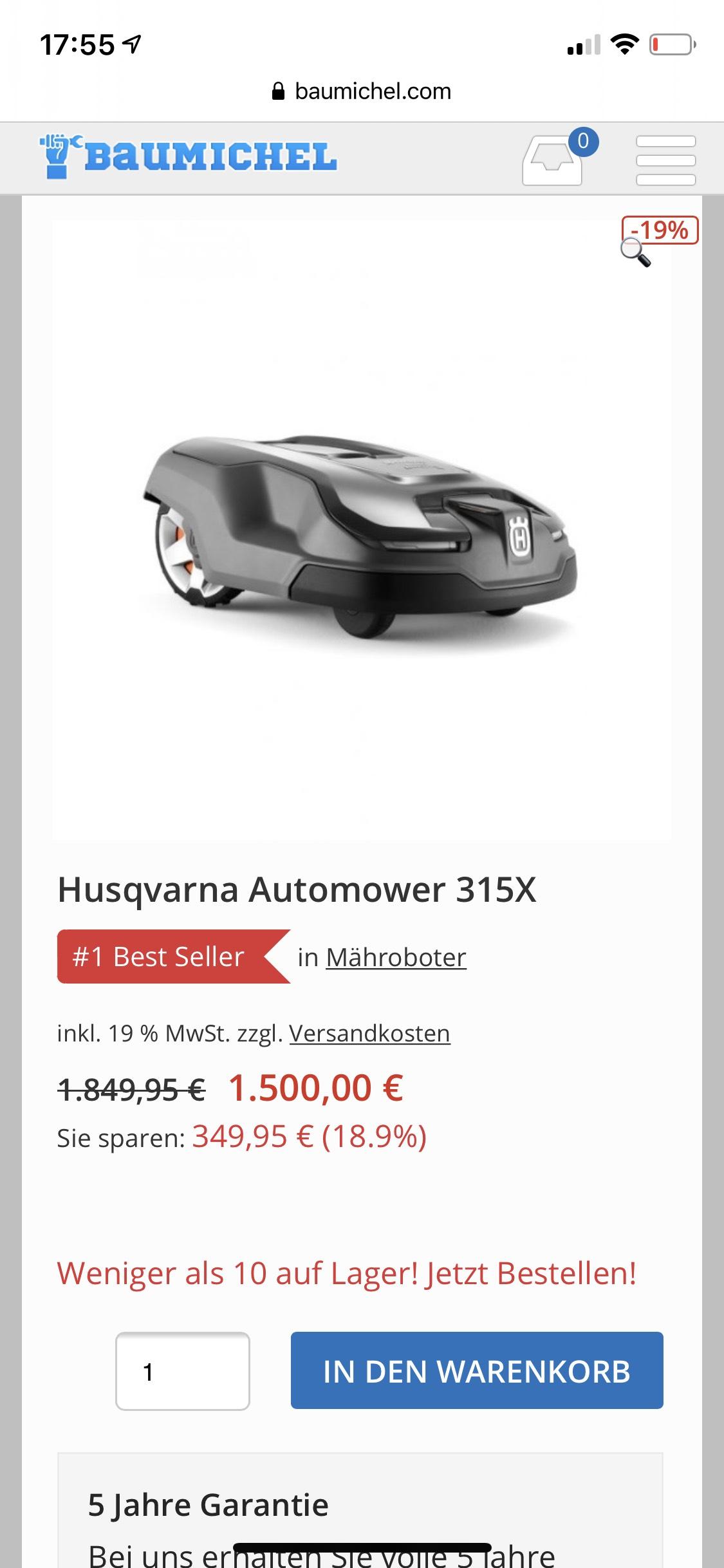 Husqvarna 315x Mähroboter (Kauf auf Rechnung)