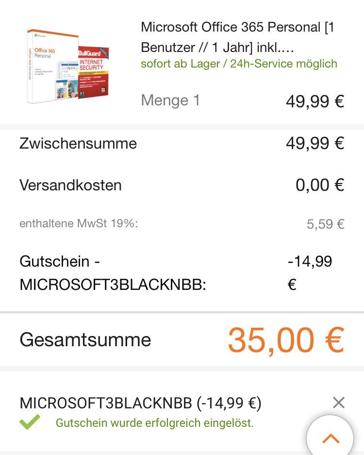 Microsoft Office 365 Personal + BullGuard Internet Security