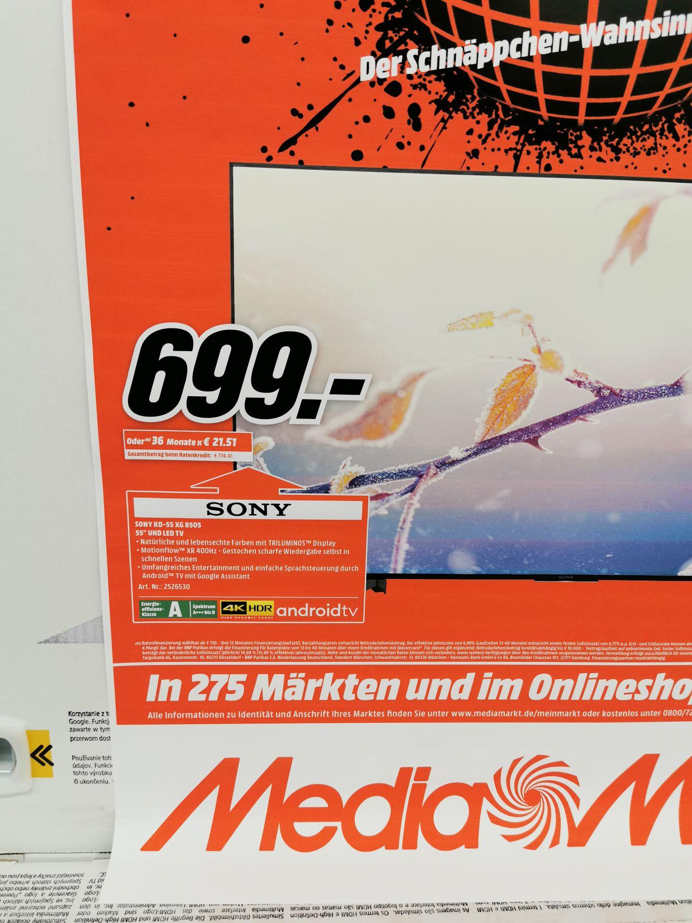 Sony 55 XG8505 - Media Markt Cyber Monday Tagesdeal