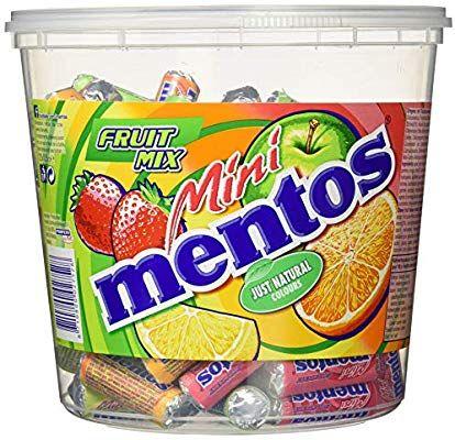 Mini Mentos Fruit Mix, Eimer mit 120 Rollen Kaubonbons, Box Frucht-Dragees, Geschmack Orange + Erbeere + Apfel + Zitrone (Amazon Prime]