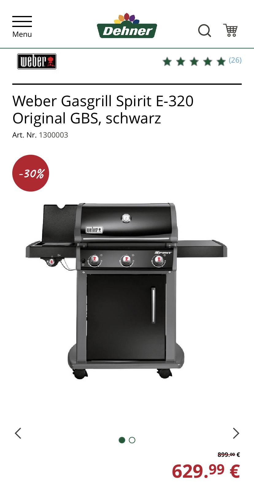 [Lokal] Dehner Gartencenter - Weber Gasgrill Spirit E-320 Original GBS schwarz