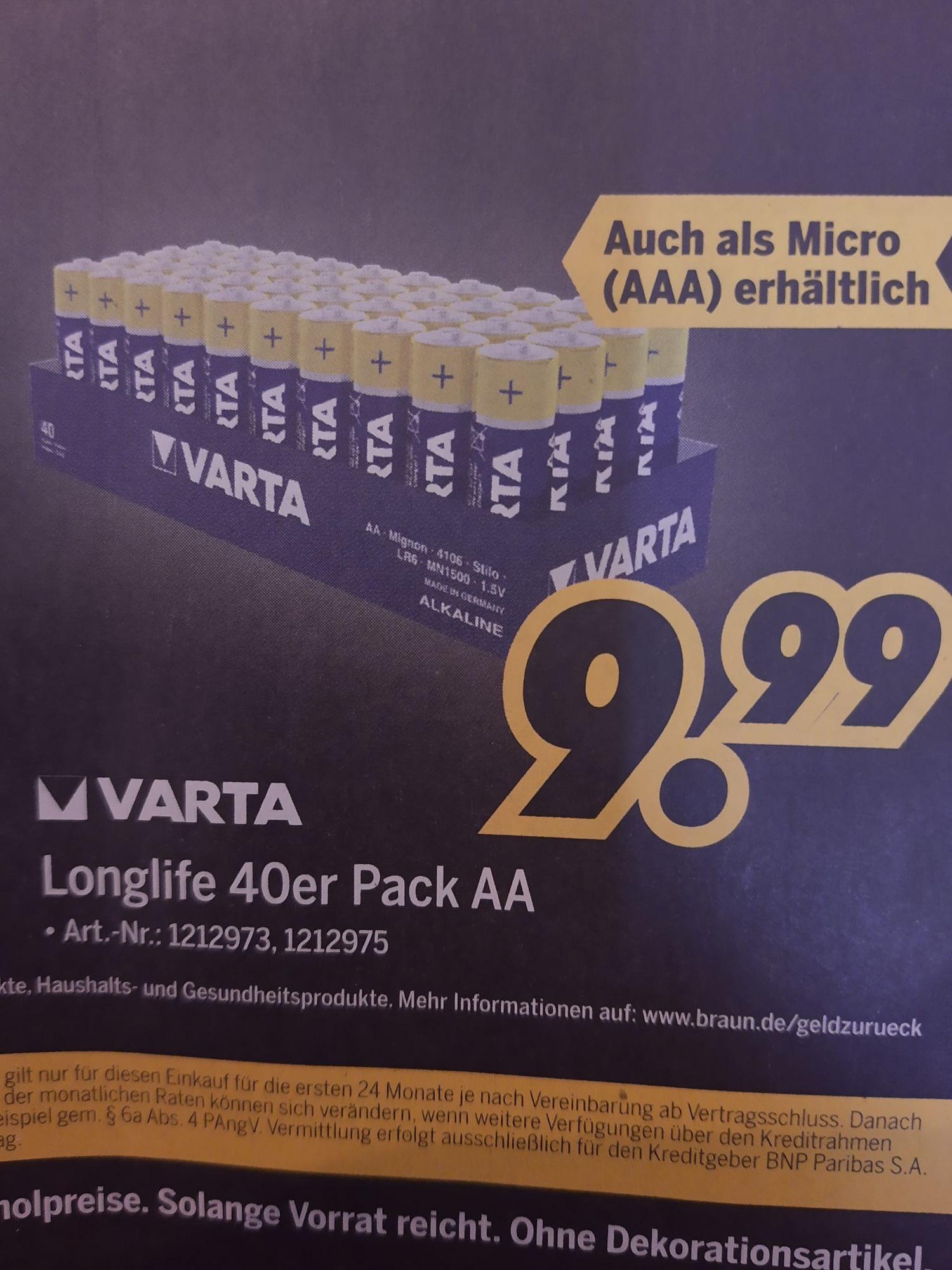 [MEDIMAX Lokal?] XXXL-Box (40 Stk) Varta 4106 Longlife Batterie 1,5V AAA Micro / 1,5V AA Mignon