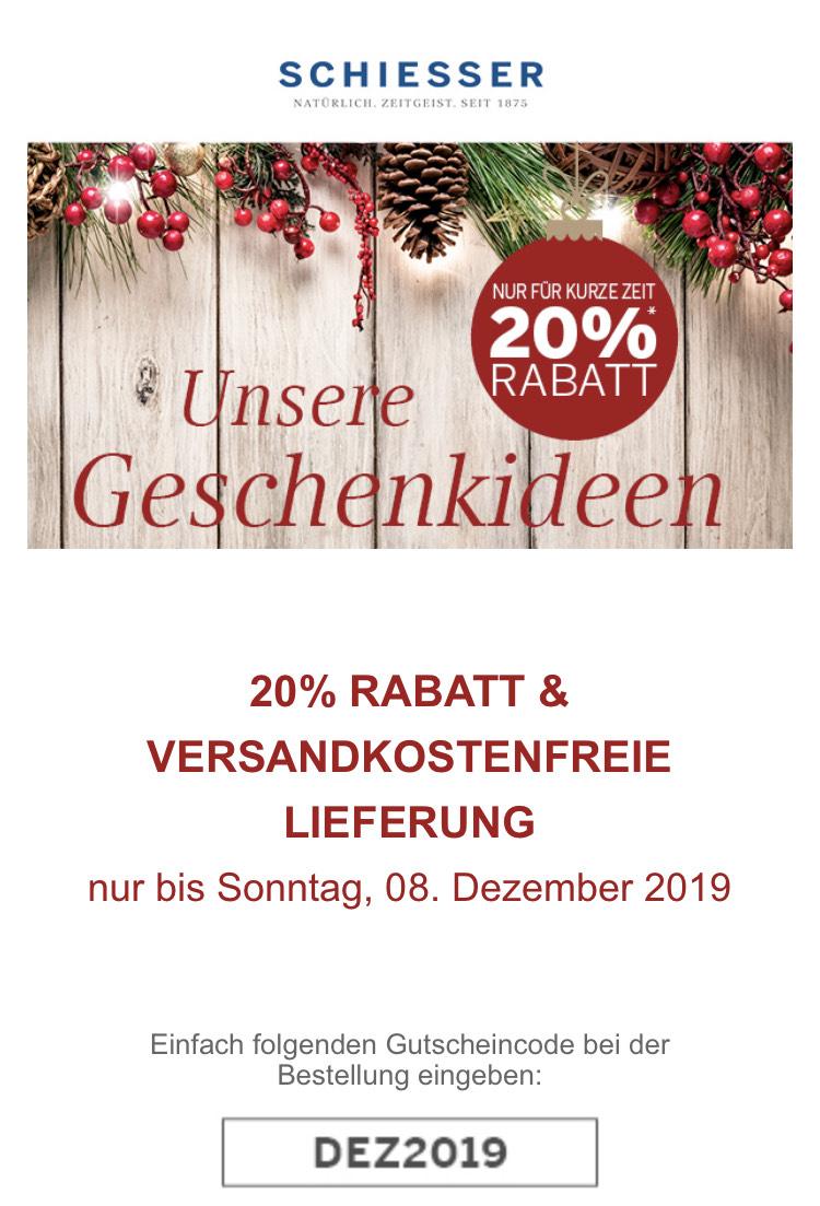 Schiesser 20% und Versandkostenfrei MBW 40€
