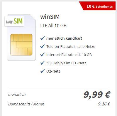 Verivox: WinSim 10GB Allnet für 9,99€/M (monatlich kündbar) ohne AG + 16€ Auszahlung